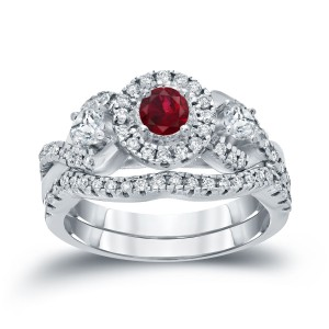 Gold 1/5ct Ruby and 3/5ct TDW Diamond Braided Bridal Ring Set - Custom Made By Yaffie™