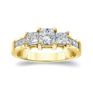 Gold 1.5ct TDW Diamond 3-stone Engagement Ring - Custom Made By Yaffie™