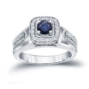 Gold 1/6ct Blue Sapphire and 1/3ct TDW Diamond Engagement Ring - Custom Made By Yaffie™