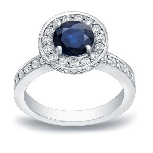 Gold 1ct Blue Sapphire and 3/4ct TDW Round Diamond Halo Engagement Ring - Custom Made By Yaffie™