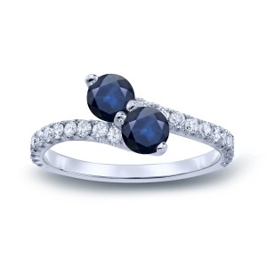 Gold 1ct Blue Sapphire and 1/2ct TDW Diamond 3-prong, 2-stone Engagement Ring - Custom Made By Yaffie™