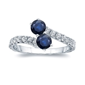 Gold 1ct Blue Sapphire and 1/2ct TDW Diamond 4-prong, 2-stone Engagement Ring - Custom Made By Yaffie™