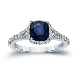 Gold 1ct Blue Sapphire and 1/2ct TDW Diamond Halo Engagement Ring - Custom Made By Yaffie™