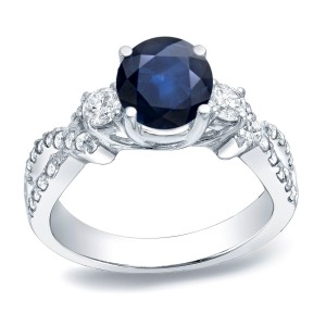Gold 1ct Blue Sapphire and 1/2ct TDW Round Diamond Engagement Ring - Custom Made By Yaffie™