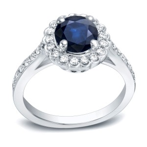 Gold 1ct Blue Sapphire and 1/3ct TDW Round Diamond Halo Engagement Ring - Custom Made By Yaffie™