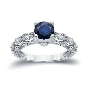 Gold 1ct Blue Sapphire and 1/4ct TDW White Diamond Engagement Ring - Custom Made By Yaffie™