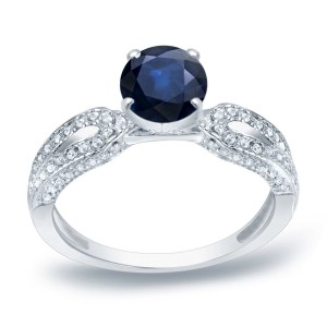 Gold 1ct Blue Sapphire and 1/5ct TDW Round Diamond Engagement Ring - Custom Made By Yaffie™