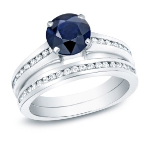 Gold 1ct Blue Sapphire and 1ct TDW Round Diamond Bridal Ring Set - Custom Made By Yaffie™