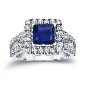Gold 1ct Blue Sapphire and 3/4ct TDW Diamond Halo Engagement Ring - Custom Made By Yaffie™