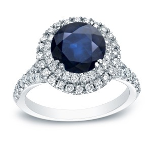 Gold 1ct Blue Sapphire and 3/5ct TDW Round Halo Engagement Ring - Custom Made By Yaffie™