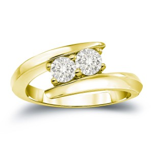 Gold 1ct TDW 2-Stone Round Cut Diamond Engagement Ring - Custom Made By Yaffie™