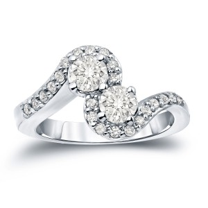 Gold 1ct TDW 2-Stone Round Diamond Engagement Ring - Custom Made By Yaffie™