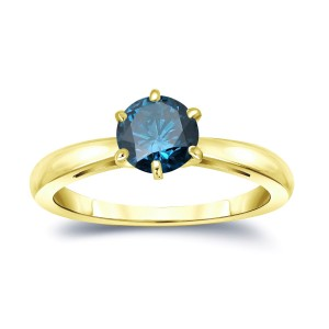 Gold 1ct TDW 6-Prong Round Cut Blue Diamond Solitaire Engagement Ring - Custom Made By Yaffie™