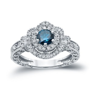 Gold 1ct TDW Blue Round Diamond Engagement Ring - Custom Made By Yaffie™
