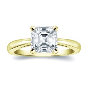 Gold 1ct TDW Certified Assher-Cut Diamond Solitaire Engagement Ring - Custom Made By Yaffie™