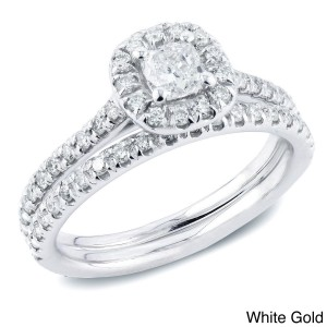 Gold 1ct TDW Certified Cushion-Cut Diamond Halo Engagement Ring Set - Custom Made By Yaffie™