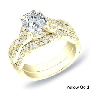 Gold 1ct TDW Certified Cushion Diamond Bridal Ring Set - Custom Made By Yaffie™