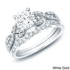Gold 1ct TDW Certified Diamond Braided Engagement Ring Set - Custom Made By Yaffie™