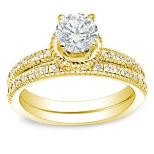 Gold 1ct TDW Certified Round Diamond Bridal Ring Set - Custom Made By Yaffie™