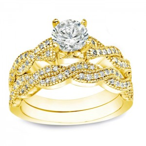 Gold 1ct TDW Certified Round Diamond Bridal Ring Set - Custom Made By Yaffie™
