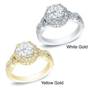 Gold 1ct TDW Certified Round Diamond Engagement Ring - Custom Made By Yaffie™