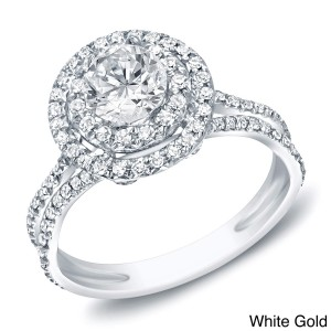 Gold 1ct TDW Diamond Double Halo Engagement Ring - Custom Made By Yaffie™