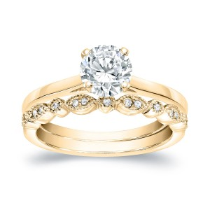 Gold 1ct TDW Diamond Vintage Style Wedding Ring Sets - Custom Made By Yaffie™