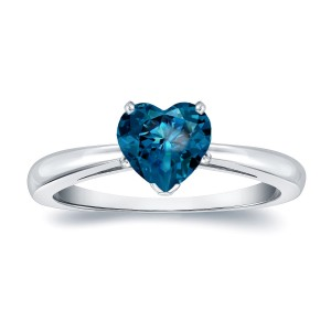 Gold 1ct TDW Heart Shaped Blue Diamond Solitaire Engagement Ring - Custom Made By Yaffie™