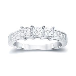 Gold 1ct TDW Princess-cut 3-stone Diamond Engagement Ring - Custom Made By Yaffie™