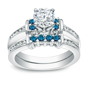 Gold 1ct TDW Round Blue Diamond Bridal Ring Set - Custom Made By Yaffie™