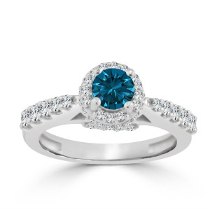 Gold 1ct TDW Round Blue Diamond Halo Engagement Ring - Custom Made By Yaffie™