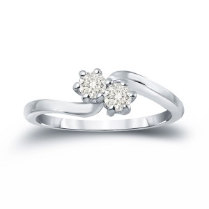 Gold 1ct TDW Round Cut Diamond 2-Stone Engagement Ring - Custom Made By Yaffie™