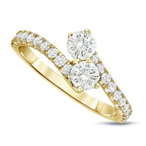 Gold 1ct TDW Round-Cut Diamond 4-Prong, 2-Stone Engagement Ring - Custom Made By Yaffie™