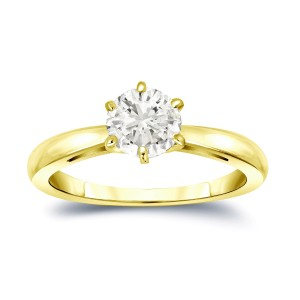 Gold 1ct TDW Round-Cut Diamond 6-Prong Solitaire Engagement Ring - Custom Made By Yaffie™