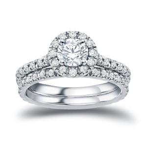 Gold 1ct TDW Round Diamond Halo Bridal Ring Set - Custom Made By Yaffie™