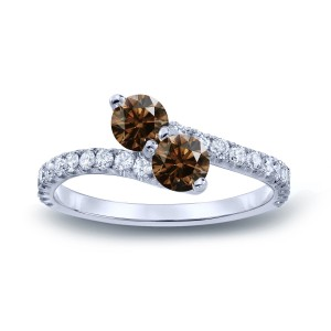 Gold 1ct TDW Round-cut Brown Diamond 3-prong, 2-stone Engagement Ring - Custom Made By Yaffie™