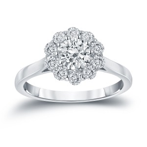 Gold 1ct TDW Round-cut Diamond Halo Engagement Ring - Custom Made By Yaffie™