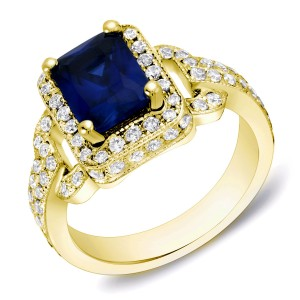 Gold 1ct TDW Sapphire and Diamond Engagement Ring - Custom Made By Yaffie™