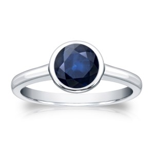 Gold 1ct TW Round Cut Blue Sapphire Solitaire Bezel Ring - Custom Made By Yaffie™