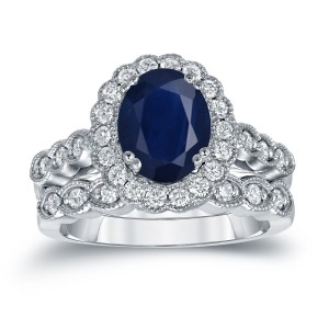 Gold 2 1/2ct Oval Cut Blue Sapphire and 3/5ct TDW Diamond Brial Ring Set - Custom Made By Yaffie™