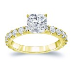 Gold 2 1/2ct TDW Certified Cushion Cut Diamond Engagement Ring - Custom Made By Yaffie™