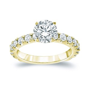 Gold 2 1/2ct TDW Certified Round Diamond Engagement Ring - Custom Made By Yaffie™