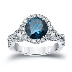 Gold 2 3/4ct TDW Round Cut Blue Diamond Halo Engagement Ring - Custom Made By Yaffie™
