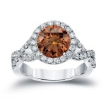 Gold 2 3/4ct TDW Round Cut Brown Diamond Halo Engagement Ring - Custom Made By Yaffie™