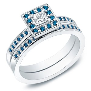 Gold 2/3ct TDW Princess Blue and White Diamond Bridal Ring Set - Custom Made By Yaffie™