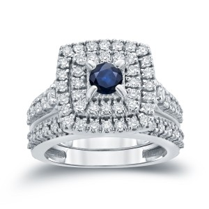 Gold 2/5ct Blue Sapphire and 1 1/5ct TDW Diamond Cluster Bridal Ring Set - Custom Made By Yaffie™