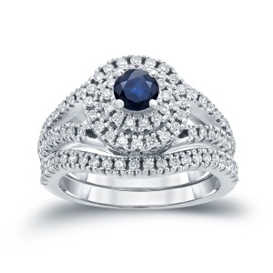 Gold 2/5ct Blue Sapphire and 4/5ct TDW Diamond Cluster Bridal Ring Set - Custom Made By Yaffie™