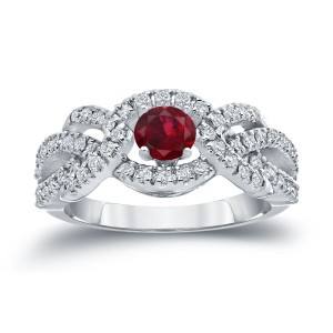 Gold 2/5ct Ruby and 3/5ct TDW Diamond Engagement Ring - Custom Made By Yaffie™