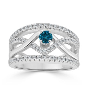 Gold 2/5ct TDW Braided Blue Diamond Engagement Ring - Custom Made By Yaffie™
