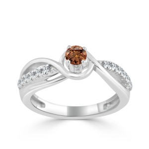 Gold 2/5ct TDW Brown Round Diamond Engagement Ring - Custom Made By Yaffie™